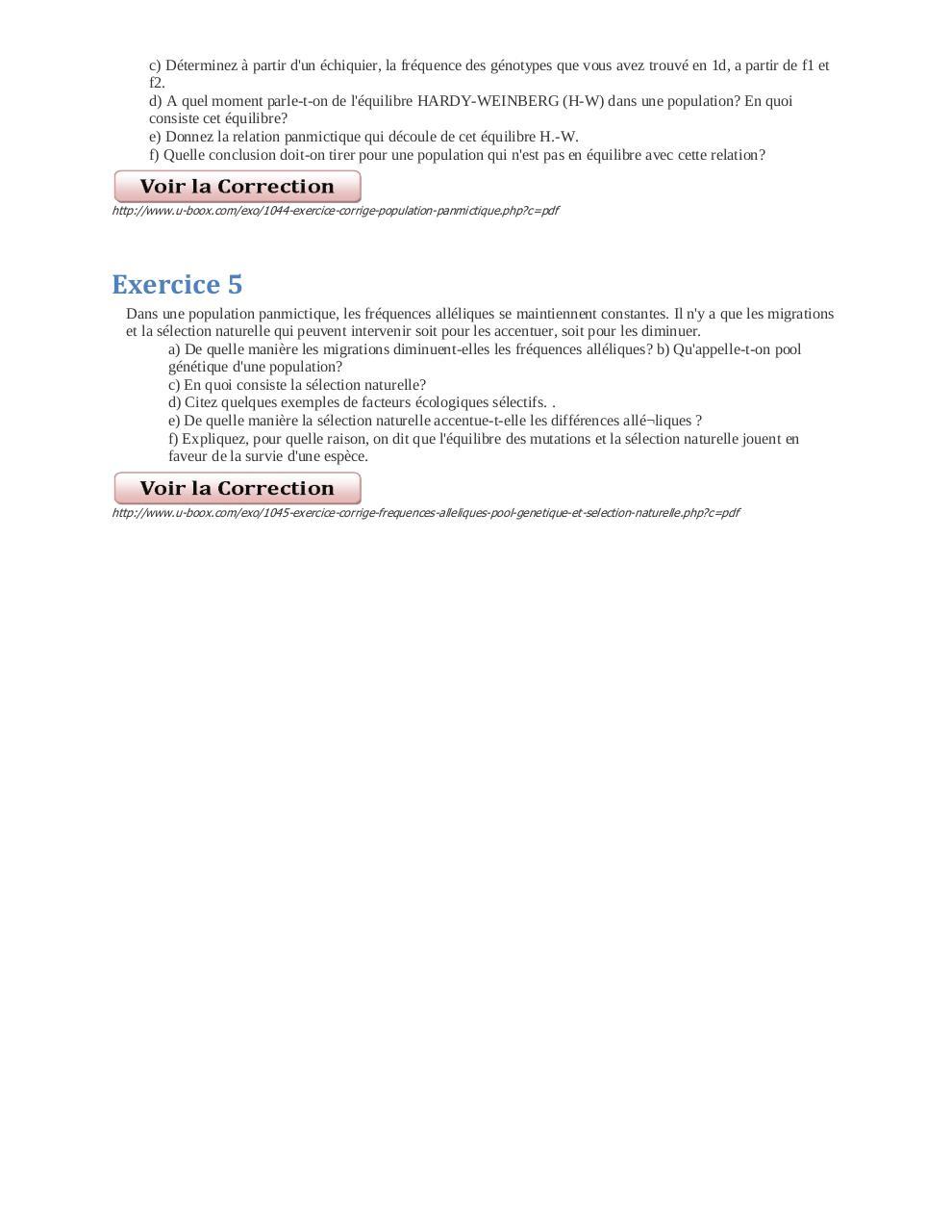 Exercices Corriges de SVT Diversite genetique par patrick ...