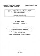 dnb nouvelle caledonie 2013