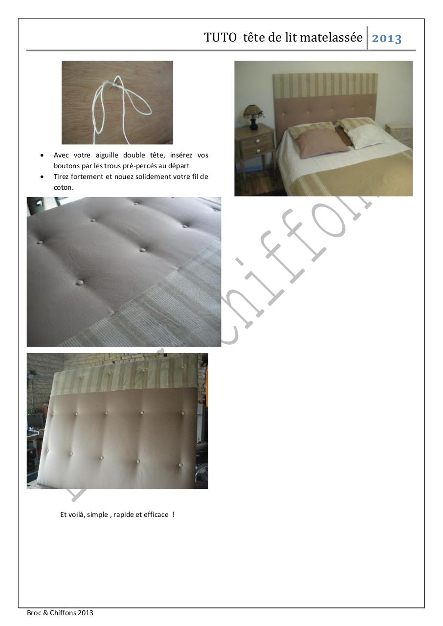 tuto t te de lit matelass e par rachel tuto t te de lit matelass e pdf fichier pdf. Black Bedroom Furniture Sets. Home Design Ideas