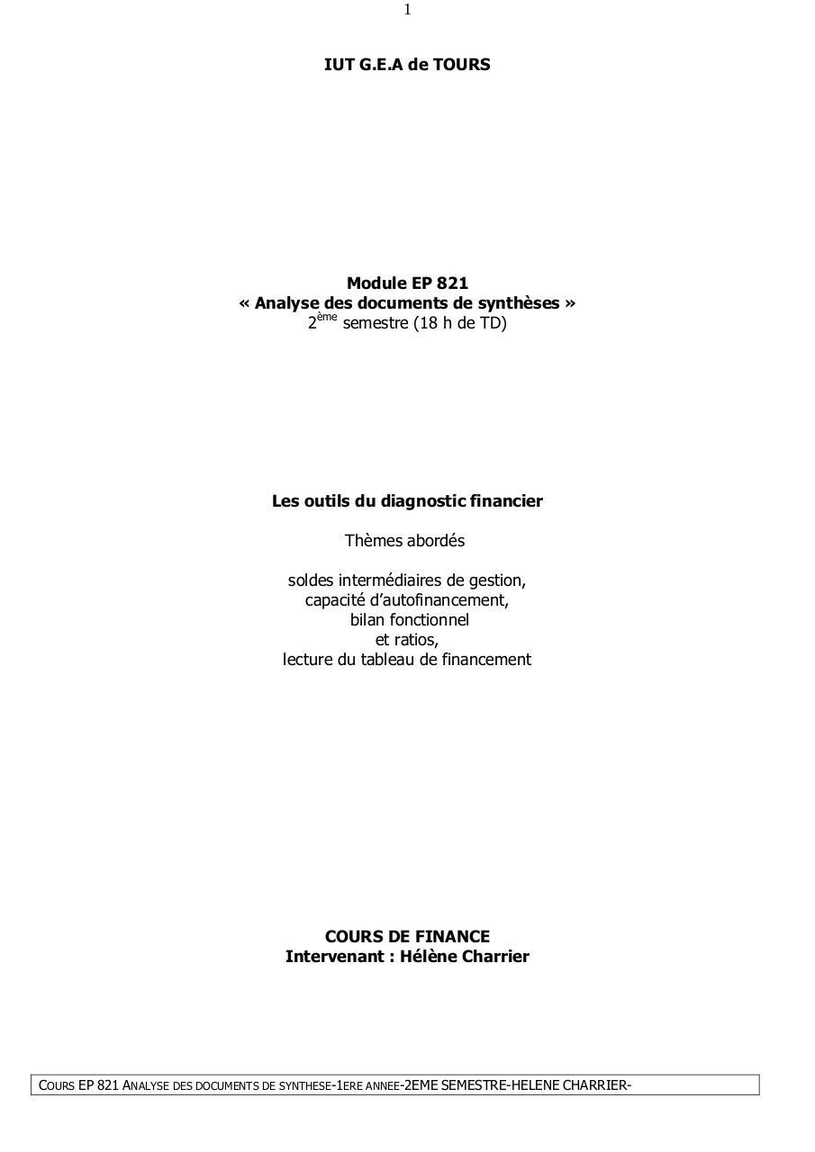 Cours Diagnostic Financier 2 Par Charrier Jean Yves Fichier Pdf