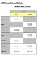 horaires salle sport