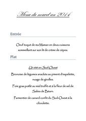 menu du nouvel an 2014