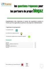 les question reponses pour les porteurs de projet biogaz