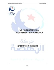 programme du mouvement ennahdha document resume