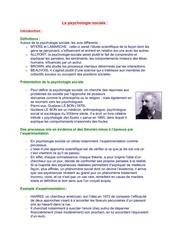 la psychologie sociale fiches chap 1 et 2