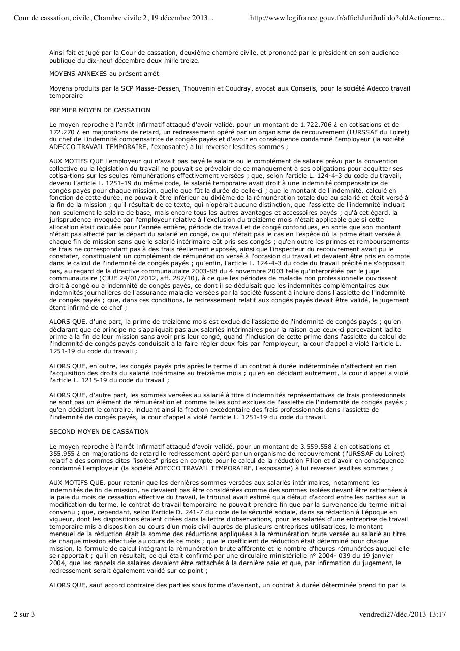 Cour De Cassation Civile Chambre Civile 2 19 Decembre 2013 12