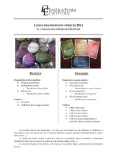 listes des produits derives 2014