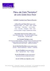 menu de gala tentation disco fever