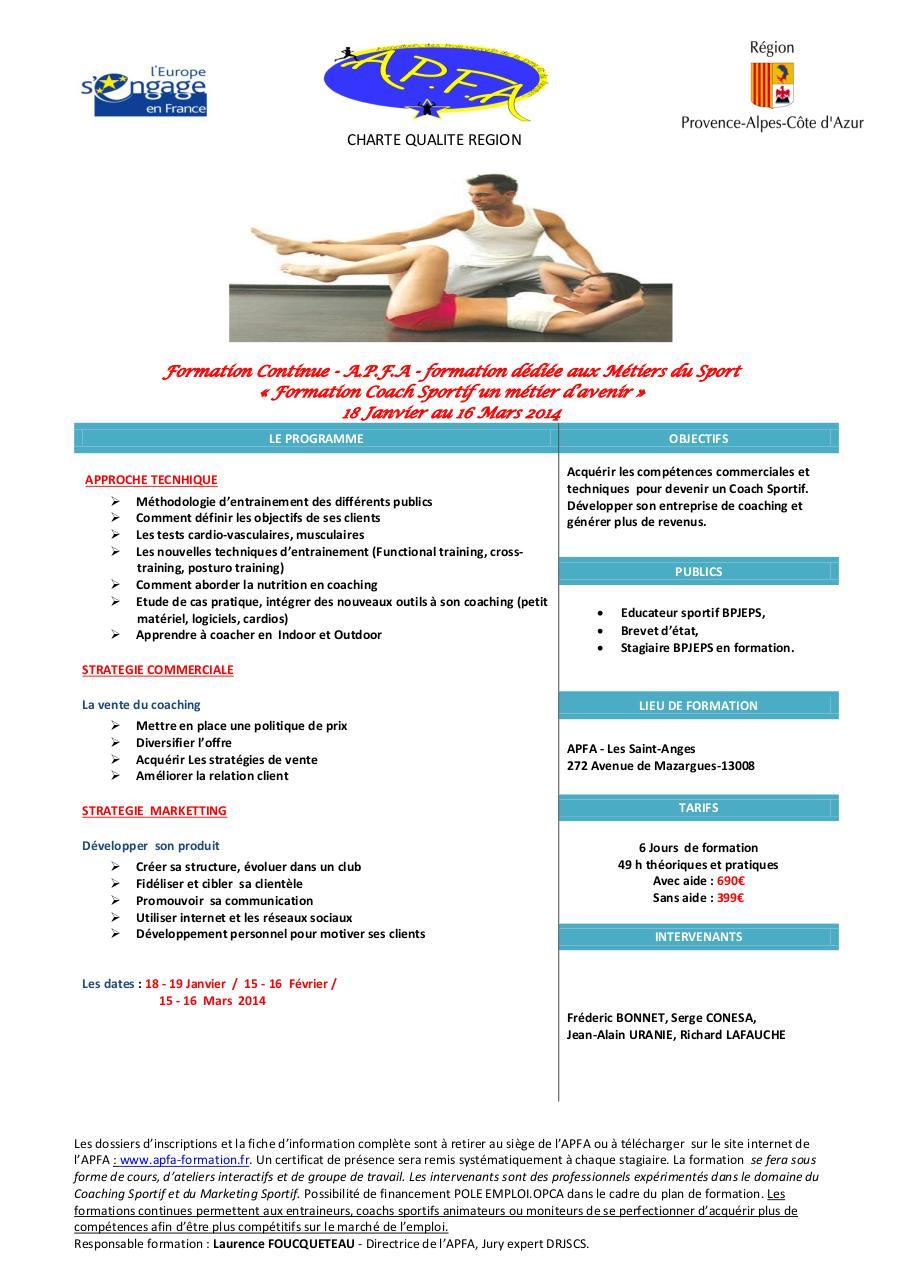 plaquette formation coach sportif word a p f 2  pdf par