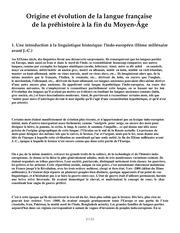 prehistoire de la langue francaise