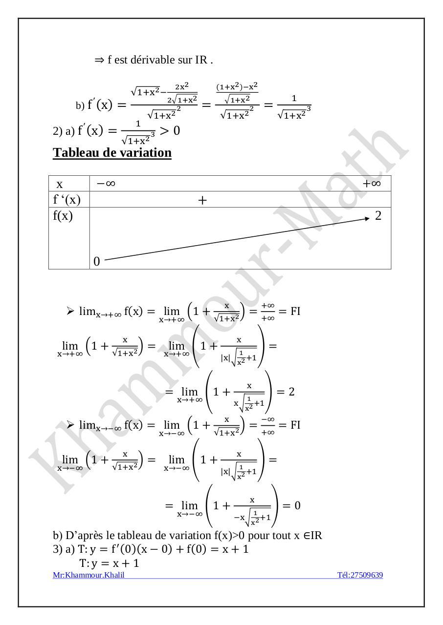 Exercice n°2 corrigé Etude de fonction (1) par mak ...