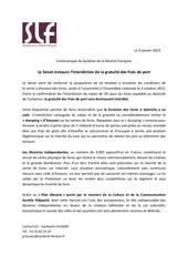 communique slf vote senat frais de port janvier 2014