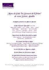 menu de gala les saveurs de l orient aladdin