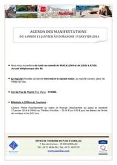 agenda semaine du 11 au 19 janvier 2014