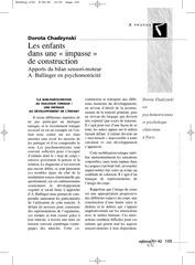 apports du bilan sensori moteur en psychomotricite