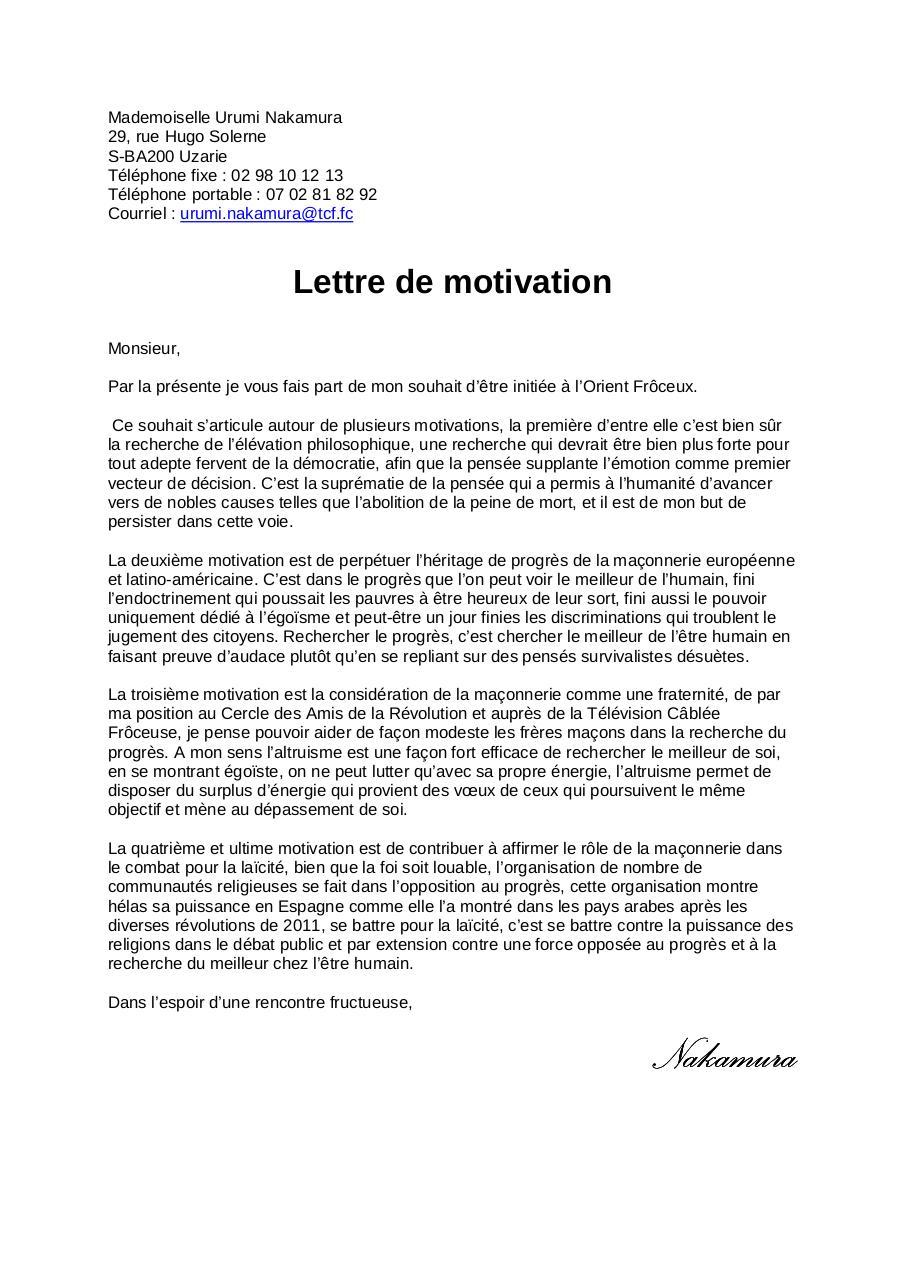 la meilleure lettre de motivation Lettre Urumi Nakamura par CLEMENT   Fichier PDF la meilleure lettre de motivation