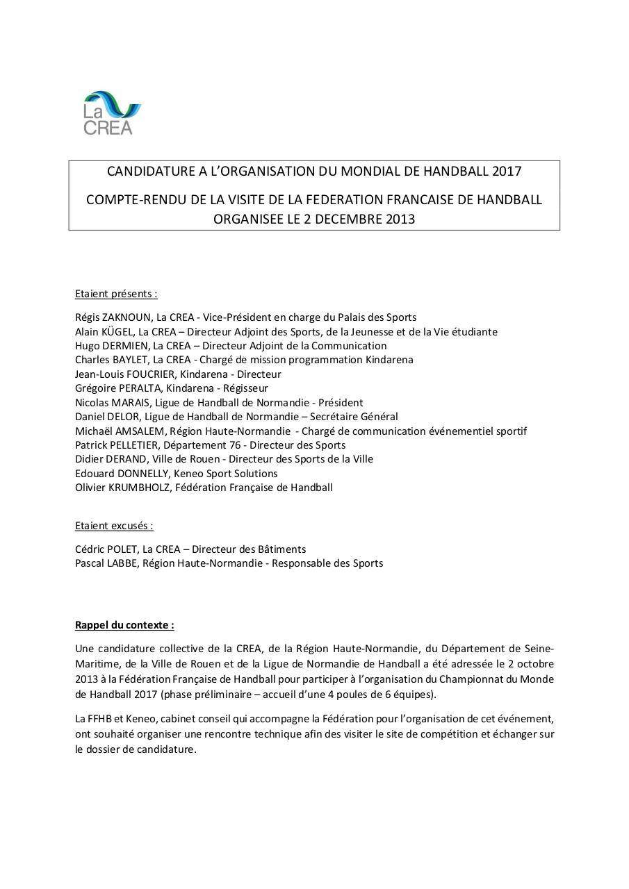 Aperçu du document CR visite FFHB  2 12 2013 candidature Mondial 2017.pdf - page 1/3