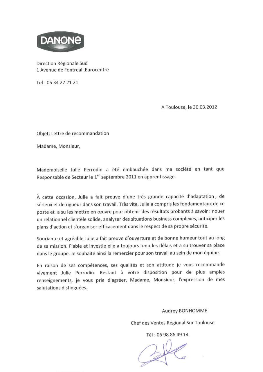 Lettre de recommandation Danone   Fichier PDF