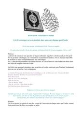lire le coran dans une autre langue que l arabe