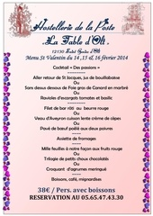 menu saint valentin 2014
