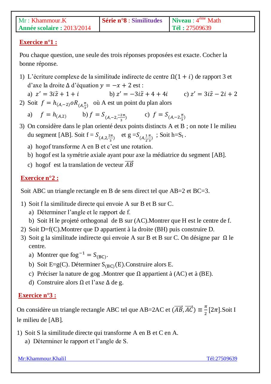 Série d'exercices similitudes Bac Math.pdf - page 1/2