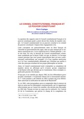 le conseil constitutionnel francais et le pouvoir constituant