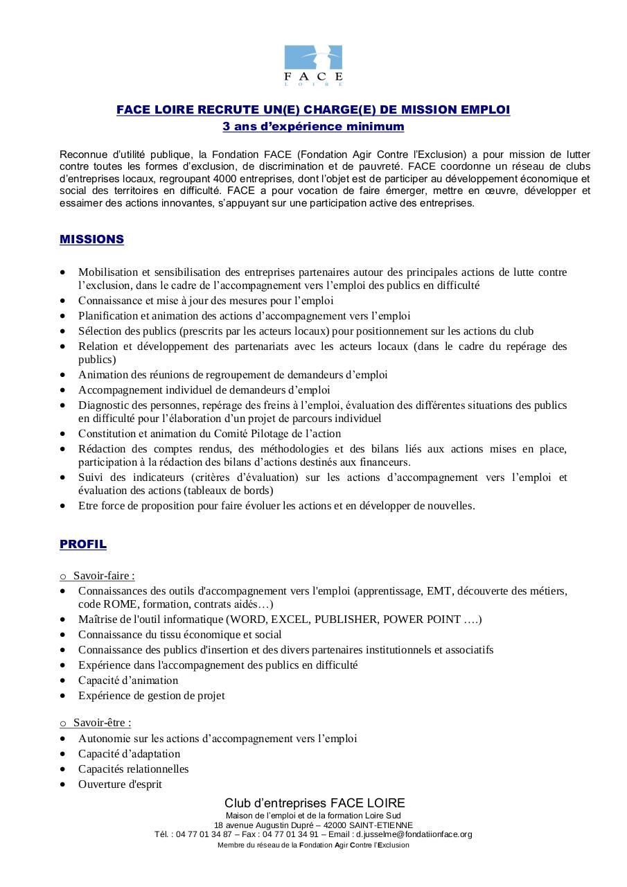 profil de poste charge e  de mission job academy par face