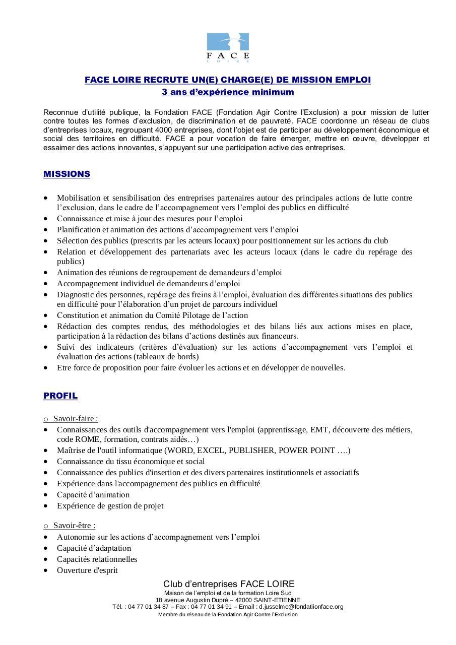 profil de poste charge e  de mission job academy par face