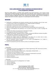 profil de poste charge de mission emploi 2014