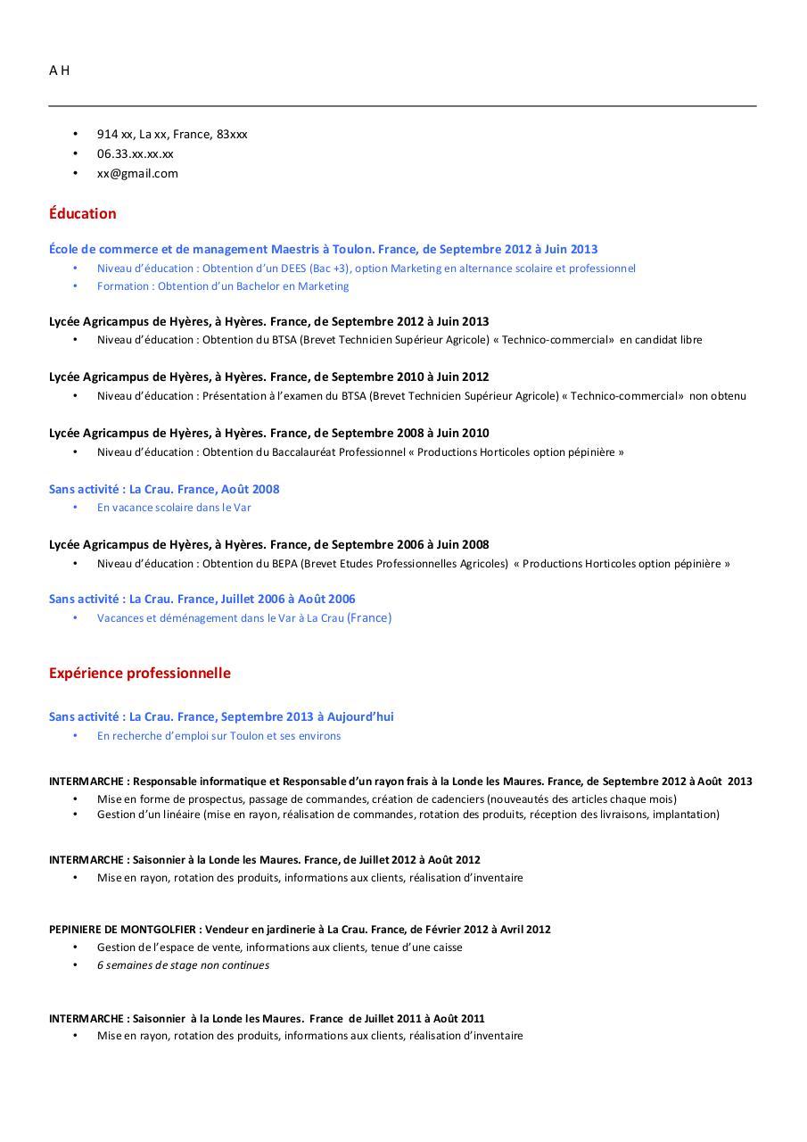 cv format canadien pdf par aur u00e9lien