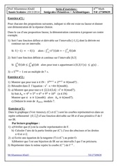 bac math primitives integrales arithmetiques 2