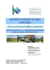 rapport et projet de voeu n 01 2014 de la commission des affaires coutumieres 1