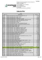 liste de prix janvier 2014