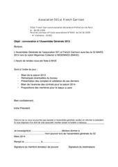 convocation ag 501st pour l annee 2013