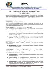 proces verbal ca janvier 2014 assoal