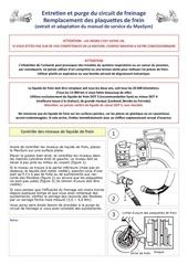 remplacement des plaquettes de frein av ar et purge