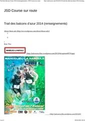 trail des balcons d azur 2014 renseignements jsd course sur route
