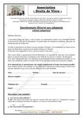 questionnaire adoptant