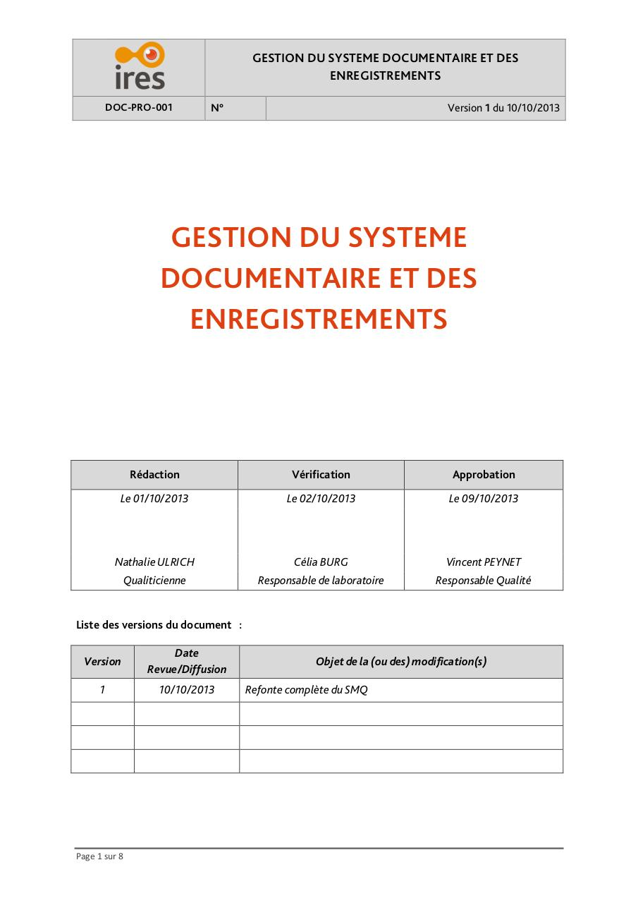 Aperçu du document DOC-PRO-001 Gestion systeme documentaire IRES v1.pdf - page 1/8