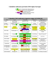 calendrier endurance provisoire 2014 auvergne