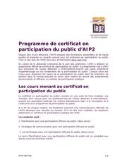 programme de certificat en participation du public d 27aip2