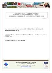 agenda semaine du 8 au 16 fevrier 2014
