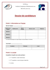 Fichier PDF dossier de candidature 1