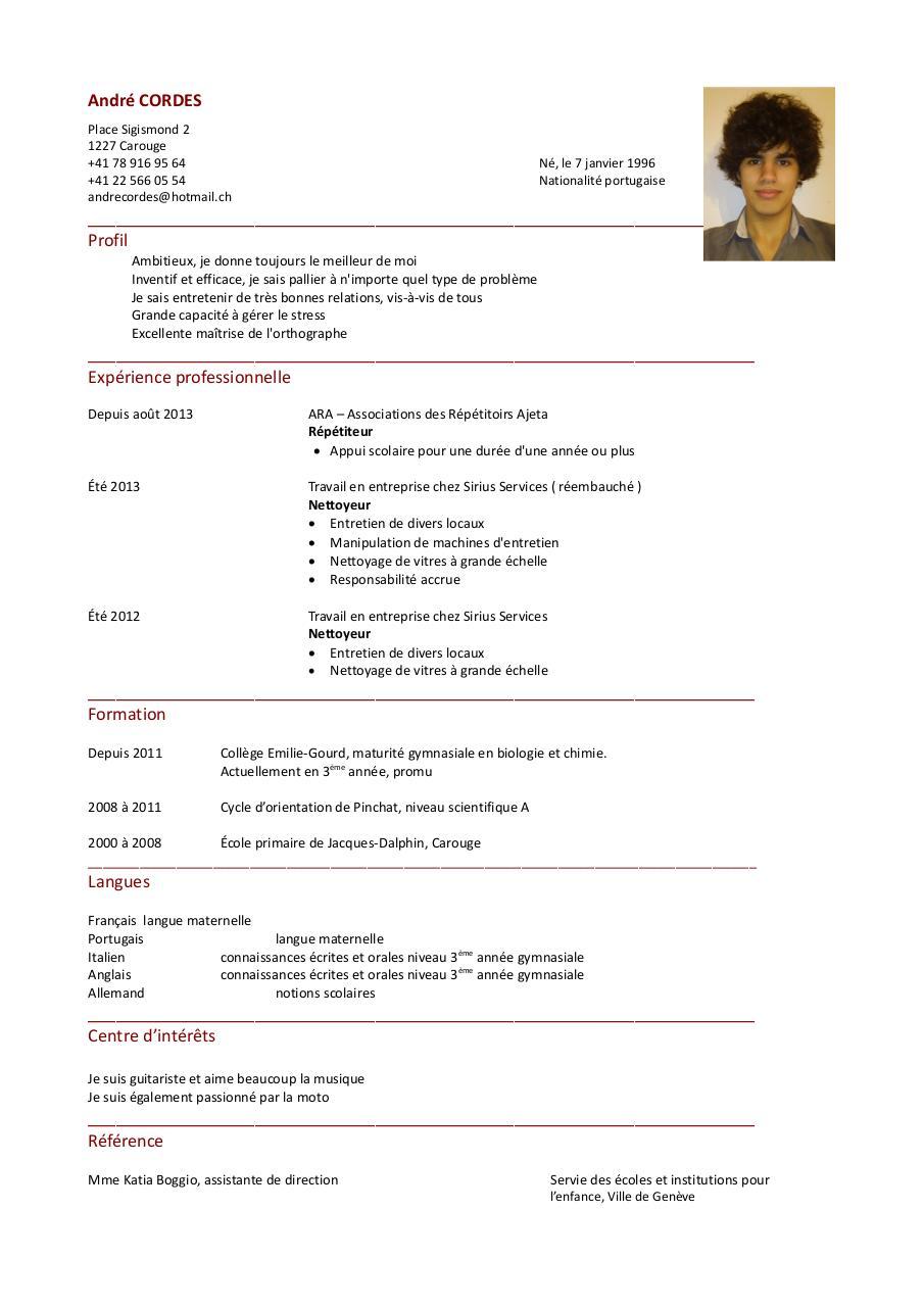 cv andr u00e9 cordes pdf par andr u00e9