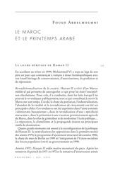 pouvoirs maroc printemps arabe fouad abdelmoumni