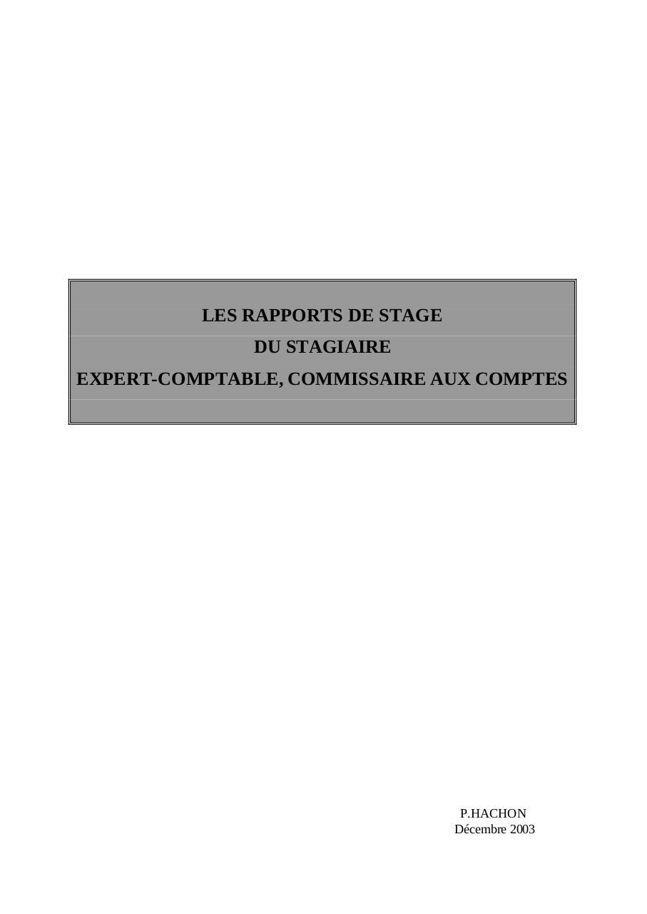Page Garde Et Sommaire Rapport Stage1 Pdf Par Herve