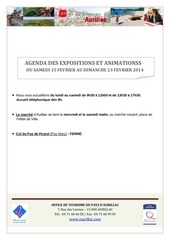 agenda semaine du 15 au 23 fevrier 2014