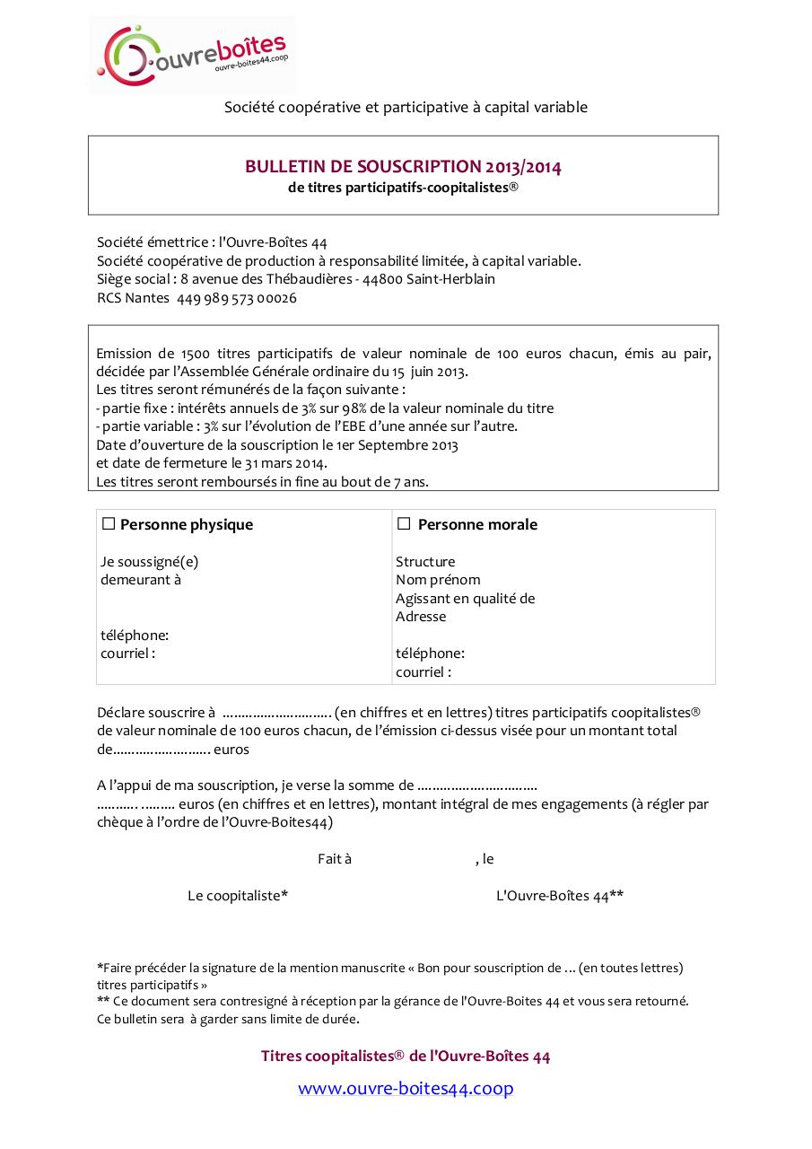 Bulletin de souscription Coopitalistesaison 2.pdf - page 1/2