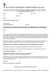 1er bulletin adhesion professionnels