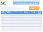 formulaire d inscription concours international 1 fr